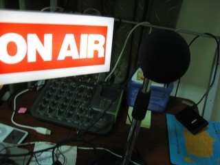 On air with microphone