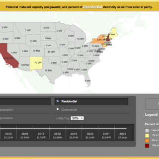 Screen shot of the Greatest Most Interactive U.S. Solar Grid Parity Map from the Institute for Local Self-Reliance