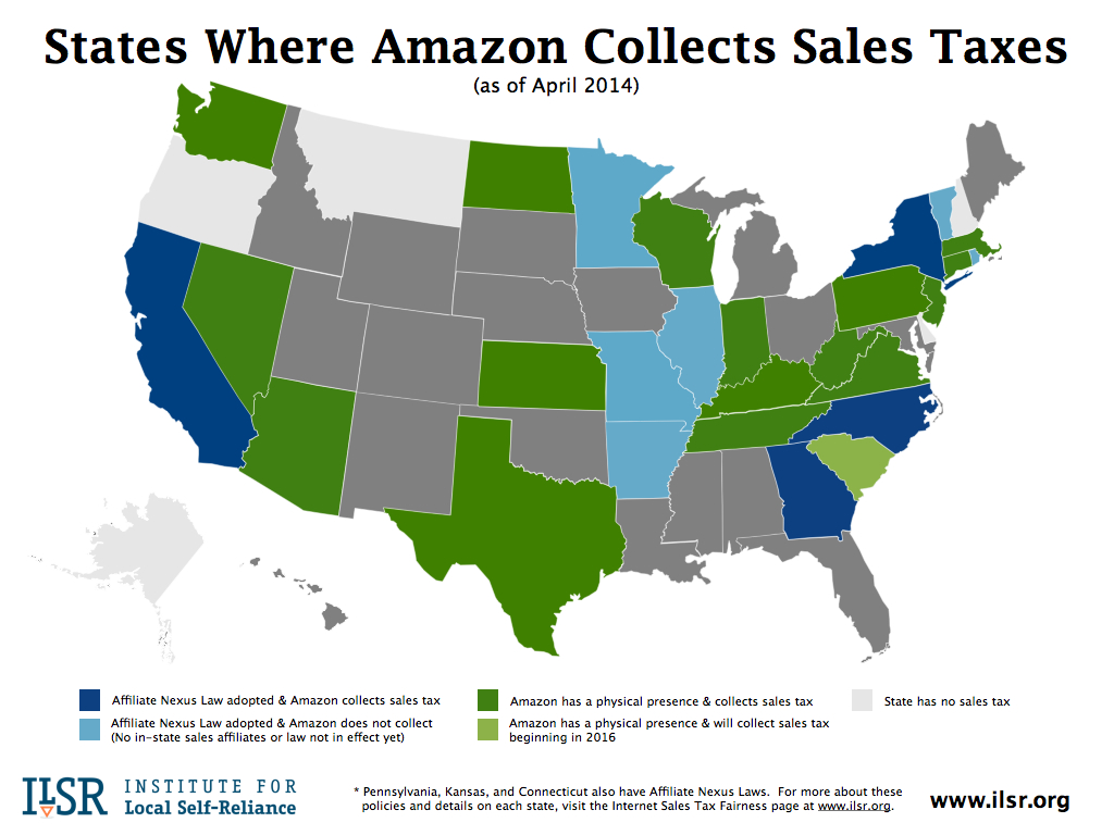 Map: States Where Amazon Collects Sales Tax - April 2014