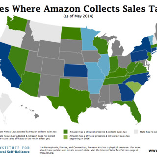 Map of States Where Amazon Collects Sales Tax