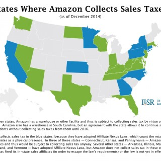 Map: States Where Amazon Collects Sales Tax