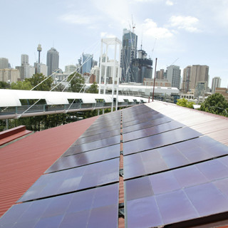 Solar panels and skyline