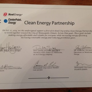 Minneapolis clean energy partnership signed
