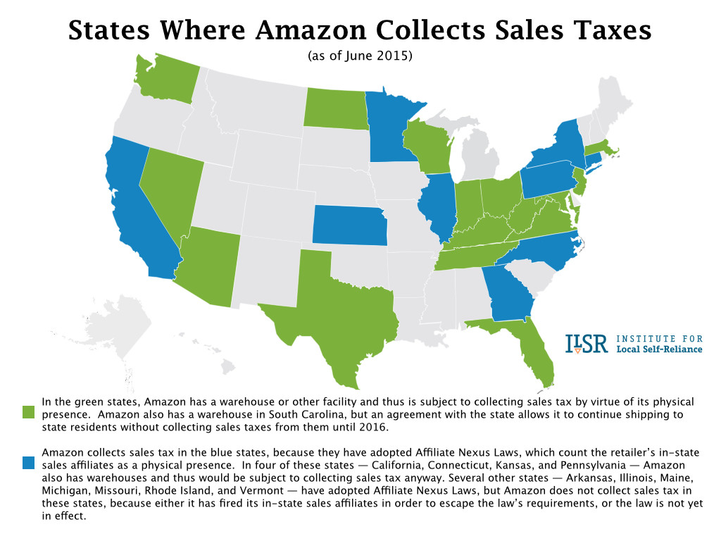 Map: States Where Amzaon Collects Sales Tax.