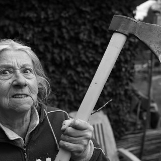 woman with axe - flickr Alexandre Dulaunoy