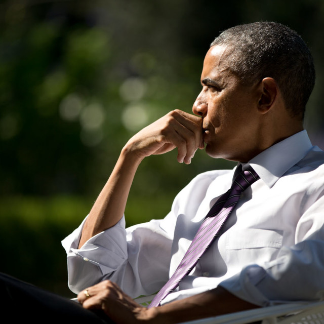 """Oct. 8, 2014 """"A portrait of the President as he listened during a meeting with staff in the Rose Garden. The meeting was originally scheduled in the Oval Office but the President moved it outside because the weather was so pleasant."""" (Official White House Photo by Pete Souza)"""