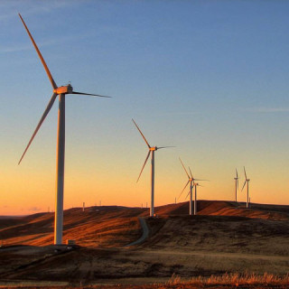 wind turbines sunrise - flickr David Clarke